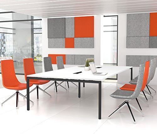 NOVA Konferenztisch 320x164cm Weiß mit ELEKTRIFIZIERUNG Besprechungstisch Tisch, Gestellfarbe:Anthrazit