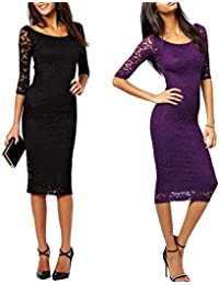 Women's 3/4 Sleeve Overlay Bodycon Lace Vintage Midi Pencil Party Dresses
