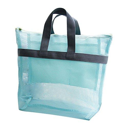 Gespout Playa Bolsa Mochila Malla Niña Mujeres Baño Lavado Plásticos Bolso Cosmético Paquete Almacenamiento Organizadores Viaje Vacaciones 1pcs Azul 28*30CM