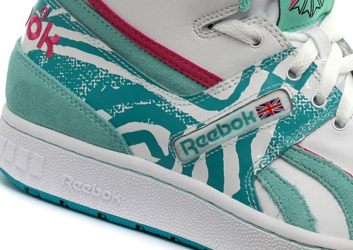 Reebok Classic Pro Legacy Femme Baskets / Sneakers, blanc White/Aqua/Green/Hot Lips