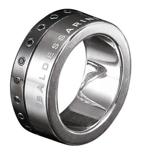 -Anello da uomo in argento Sterling 925Baldessarini rivestimento in PVD con zirconi Y1006R/90/43Nero, Argento, 62 (19.7), cod. Y1006R/90/43/62