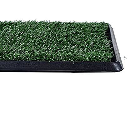 PawHut Indoor Dog Toilet Puppy Cat Pet Training Mat Potty Tray Grass Restroom Portable (51L x 64W x 3T (cm)) 7