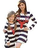 Minetom Donna Estate Autunno Striscia Abito Elegante Manica Lunga Vestito Per Madre e Figlia Vestiti Casual Parent-Child Striscia 100(Figlia)