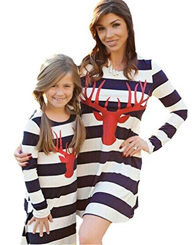 Minetom Rundhals A-Linie Kleid Mutter und Tochter Langarm Knielang Mode Hirsch Muster Streifen Stitching Kleid Familie Collocation Kleidung Streifen DE 42(Mama)