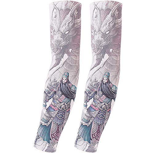 Kostüm Verschiedenen Von Heiligen - JinRui-Sport Tattoo Sleeve Sonnenschutz Manschette männliche Ice Silk Handschuhe Tattoo Armschutz, XXL, Farbe Sheng Guan Yu 2 Packungen