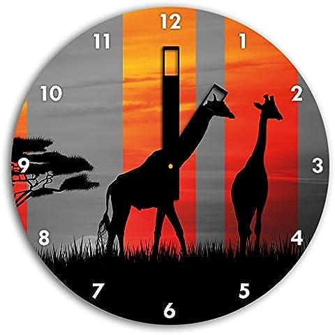 giraffe Africa tramonto nero / bianco, orologio da parete diametro 30 centimetri con il nero squadrate le mani e il viso, oggetti decorativi, Designuhr, composito in alluminio molto bello per soggiorno, studio - Savannah Uccello Ragazze