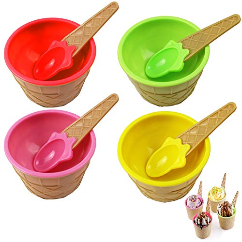 BESTZY Eisschälchen 4 X Eisdessertschüsseln EIS-Schalen Set Eisbecher mit Eislöffel Eisbecher Dessertschale Eistütenform Kinder