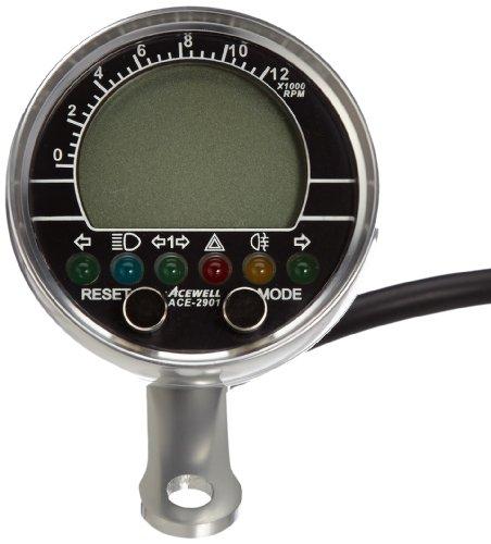 Acewell ACE-2901AP Motorrad und Quad / ATV Drehzahlmesser mit Temperaturanzeige und 6 Kontrollleuchte Alu-poliert