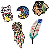 MagiDeal 6 Pieces Assorted Shape Embroidered Sew Iron on Applique Patch Badge Pants Jeans Patches