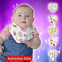 Bebedou 5 PACK GIRLS Super Absorbent Pure Cotton Stylish Bandana / Dribble Bib for Babies and Toddler, fun colourful design, baby shower gift, burpy towel •Lovely designs • very good quality •nice and funky • (5 Pack Gift Set) •unique baby gift • protects against drool rash • and reflux cute and stylish •. high quality absorbent drool bibs •Made with a 100% soft cotton