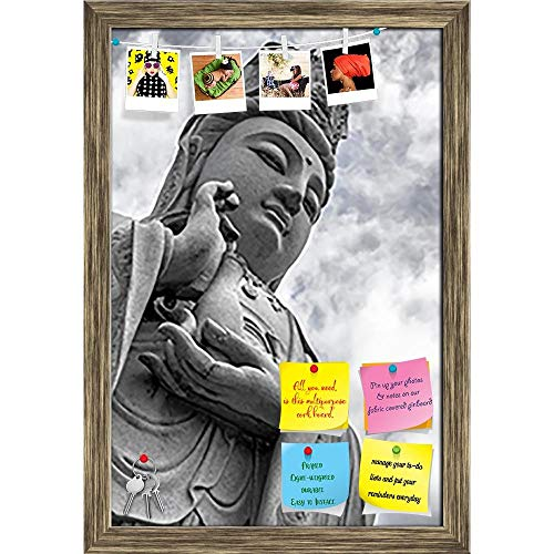Artzfolio Guanyin In Thailand Printed Bulletin Board Notice Pin Board | Antique Golden Frame 16 X 23.5Inch