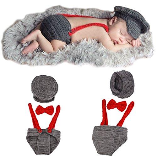 YOEEKU Neugeborenes Baby-Flieger-handgemachtes Häkelarbeit-gestricktes Fotographie-Stützen-Outfit (Baby Star Trek Kostüme)