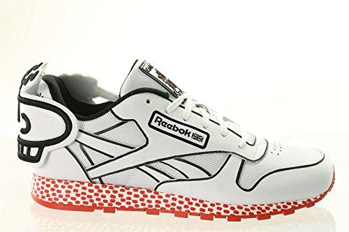 Reebok Herren Classic Leder Lux Einheitsgröße Weiß/Schwarz/Rot (Nike Adidas Reebok)