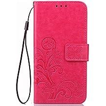 Funda Para Elephone P8000 , pinlu® Alta Calidad Función de plegado Flip Wallet Case Cover Carcasa Piel PU Billetera Soporte Con Trébol de la suerte Rojo