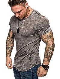 Amaci Sons Oversize Herren Vintage Verwaschen T-Shirt Crew Neck Rundhals  Basic Shirt 6084 f5cb1220c2