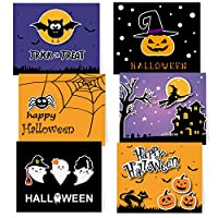 TUPARKA 30 Pack Halloween Greeting Cards with Envelopes and Halloween Stickers, 6 Halloween Designs