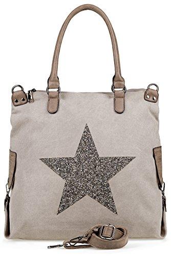 NavyBlu® Damen vintage Schultertasche Canvas Tasche mit Stern Handtasche Umhängetasche Henkeltasche E11-2