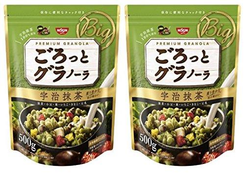 Nisshin - Chunky Japanese Granola with Kyoto Uji Matcha Green tea Flavor 500g (17.63oz) * 2 packs : Japan Imported [Standard ship by SAL: NO Tracking & Insurance]