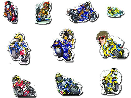 10 PZ Large Valentino Rossi 46 The Doctor Decal Sticker Set JDM Auto Bike Car Laptop Casco Rock Star 100% di artiglio con licenza ufficiale Koolart Designs Printed on Orafol The Rap idair Technology enables Easy and quick applciation Without Air inclusion