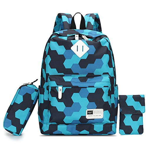 HIKKER-LINK Cute Backpack for Boys School Phone Hand Bags Pencil Case 3 Pieces Set Camouflage Water Blue
