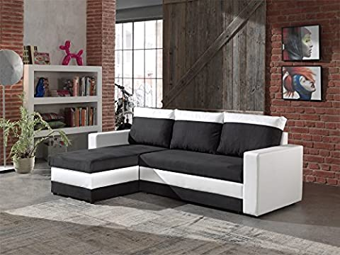 Bestmobilier - PORTLAND - Canapé d angle réversible convertible - 225x145x85cm Couleur - Blanc / Noir