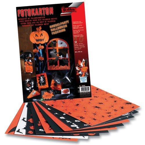 folia 5640 Fotokarton Halloween 300 g/m², 2-seitig Bedruckt, 50x70 cm, orange/schwarz/weiß (10 Bogen) (Tonpapier Halloween-basteln Aus)