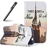 Schutzhülle Case für MicroLumia 550 Nokia N550,BtDuck Hülle Handyhülle PU Briefcase Tier Blume Schmetterling Bunt Cover Tasche Etui Hülle Leder Silikon - New York