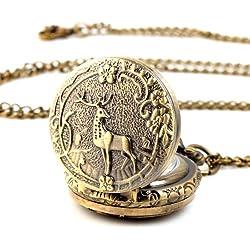 UNIQUEBELLA Pocket watch-Quartz-Men/ Women/ Children-Vintage-Alloy Chain/Necklace-A5-RA0024 Bronze Sika Stag