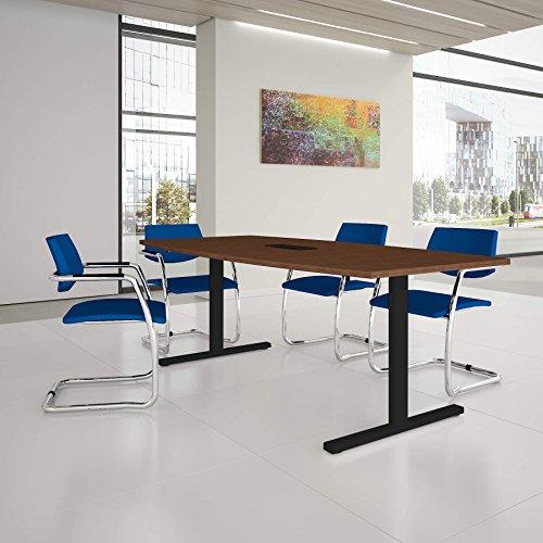 Weber Büro EASY Konferenztisch Bootsform 200x100 cm Nussbaum mit Elektrifizierung Besprechungstisch...