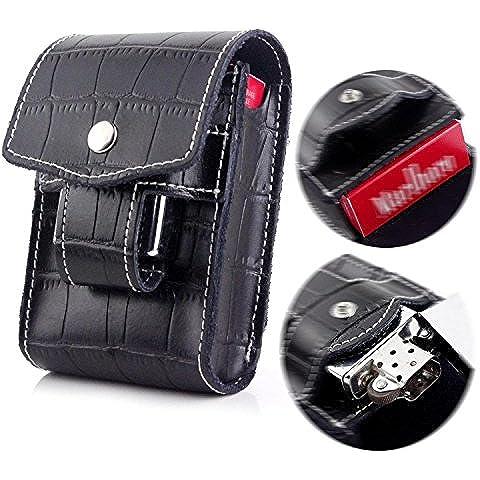 Nero e Portasigarette e porta-accendino in vita con passante per cintura, per sigarette, scatola da 100 pezzi taglia & tipo