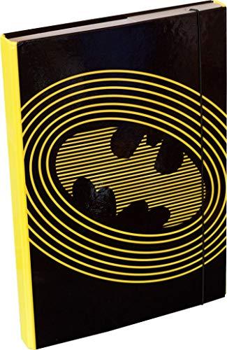 Heftbox für Schulranzen A4 - Sammelmappe für Kinder mit Gummiband und Innenklappen - Heftmappe, Sammelbox mit Gummizug für Jungen (Batman)