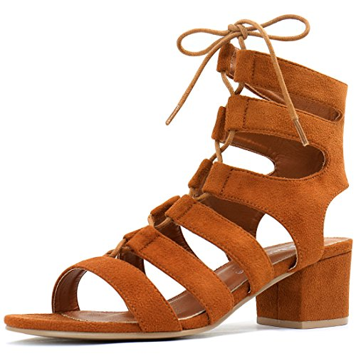 5 B(M) US , Brown : Allegra K Women's Open Toe Cutout Chunky Heel Lace-Up Sandals
