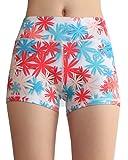 SOUTEAM Frauen Yoga Shorts Elastische schlanke Activewear Leggings mit Tasche, rot, mittel