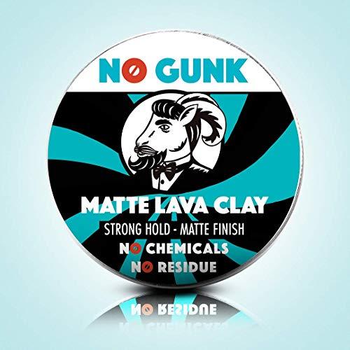 NO GUNK Argile Pâte Cire Coiffante Bio 100% Naturelle Pour Cheveux - Tenue Forte - Effet Mat - Du Gagnant de Meilleur Produit Capillaire Pour Homme 2018 - Matte Lava Clay (Original, 50g) image 1