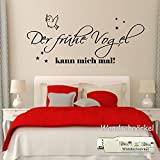 Wandschnörkel ® Wandtattoo Schlafzimmer2604 Der frühe Vogel kann mich mal 120cm x58 cm + Sterne Wandsticker Schlafzimmer/Kinderzimmer...in 21 Farben in unserem Angebot