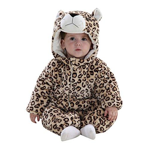 MissFox Kigurumi Pijama Unisexo, Traje animal Disfraz de Cosplay Halloween para Niños Niña Bebé - Leopardo 2, Tamaño 100