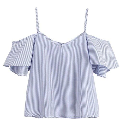 Damen T-Shirt VEMOW Frauen Sommer Nadelstreifen Off Schulter Kurzarm Tops Bluse