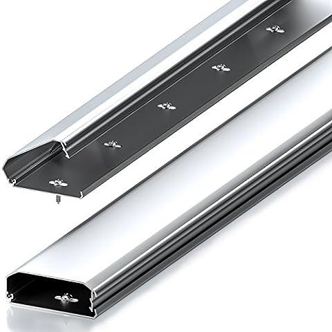 deleyCON Universal Kabelkanal Leitungskanal innovativer Klappmechanismus hochwertiges Aluminium Länge 50cm , Breite 6cm , Höhe 2cm - (Kabelkanal Für Tv)
