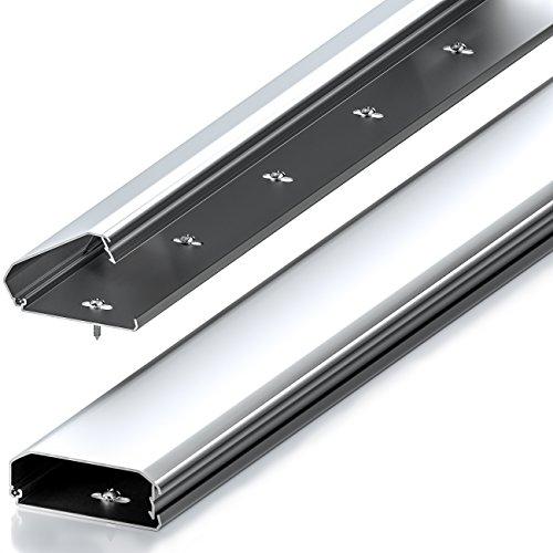 deleyCON Universal Kabelkanal Leitungskanal innovativer Klappmechanismus hochwertiges Aluminium Länge 50cm , Breite 6cm , Höhe 2cm - Silber