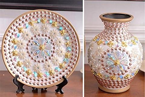 Style européen Vase céramique avec fleurs Creative Marry Luxueux Cadeau Arrangement de fleurs trois Ensembles Home Salon Décoration Flowerware Décorations Beauté Bouteille
