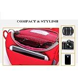 Amazingk Rouge rembourré Compact Digital Camera Case Pouch et sac de transport avec fermeture à glissière de poche