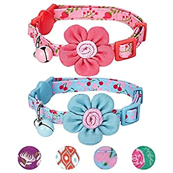 Blueberry Pet Lot de 2 Adorables motifs Cerises et Fleurs Réglable Collier pour chat avec boucle anti-étranglement, fleur & clochette