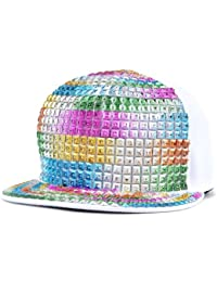 LOCOMO Men Women Punk Rainbow Paillette Sequin Baseball Snapback Cap FFH062