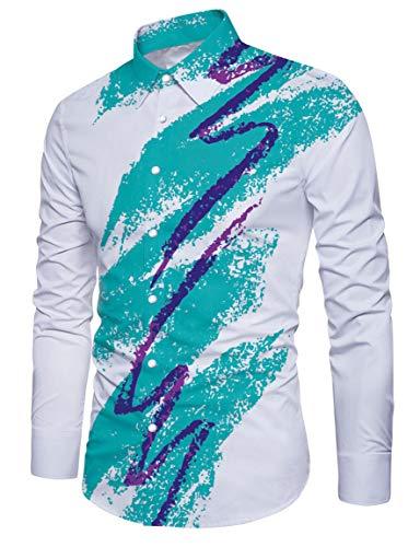 RAISEVERN Männer Vintage Jazz Solo Tasse Printed Casual Button Down Langarm-Shirt Weiß und Blau (Weiße Langarm-hawaii-shirt)
