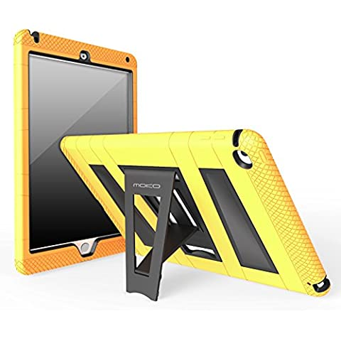 MoKo Apple iPad Air 2 Funda - [Pata de cabra] [A prueba de lluvia] Durable hibrida silicona + Negro duro policarbonato [Shock-Absorción] con soporte plegable protector funda para Apple iPad Air 2 (iPad 6) 9.7 Inch iOS 8 Tablet, AMARILLO