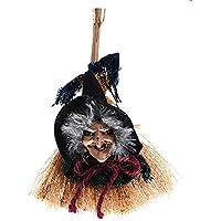 Romote Decoraciones de Halloween Que cuelga Bruja y Escoba de Juguete Verde de Halloween