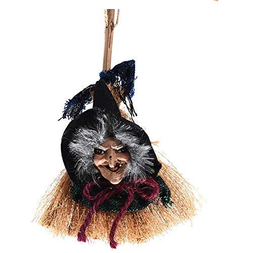 Romote Halloween-Dekorationen Hängende Hexe und Besen Spielzeug Halloween Grün
