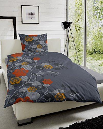 PRIMERA Mikrofaser-Fleece Bettwäsche 175115-082 Blüten grau-orange 135x200 + 80x80 cm
