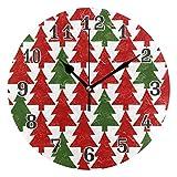 QMIN Wanduhr grün Kardinal Weihnachtsbaum-Muster, runde Uhr geräuschlos, kein Ticken, leise Uhr für Schlafzimmer, Wohnzimmer, Küche, Büro, Home Decor