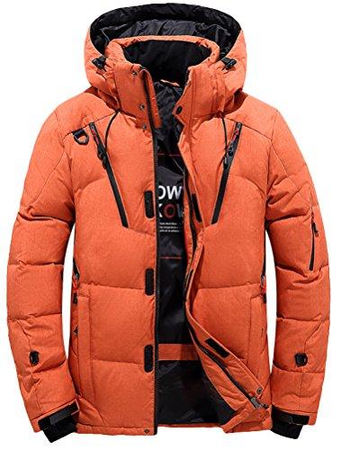 Vogstyle Herren Daunenmantel Warm Daunenparka Winter Mantel Outdoor Verdickte Steppjacke Jacke Parka Orange XXL